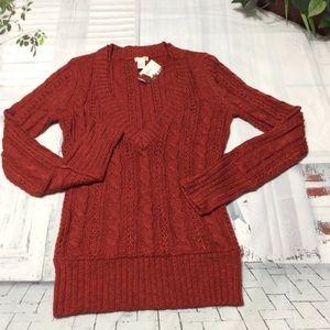 Maurices Burnt Orange Cable Knit V-Neck Sweater M
